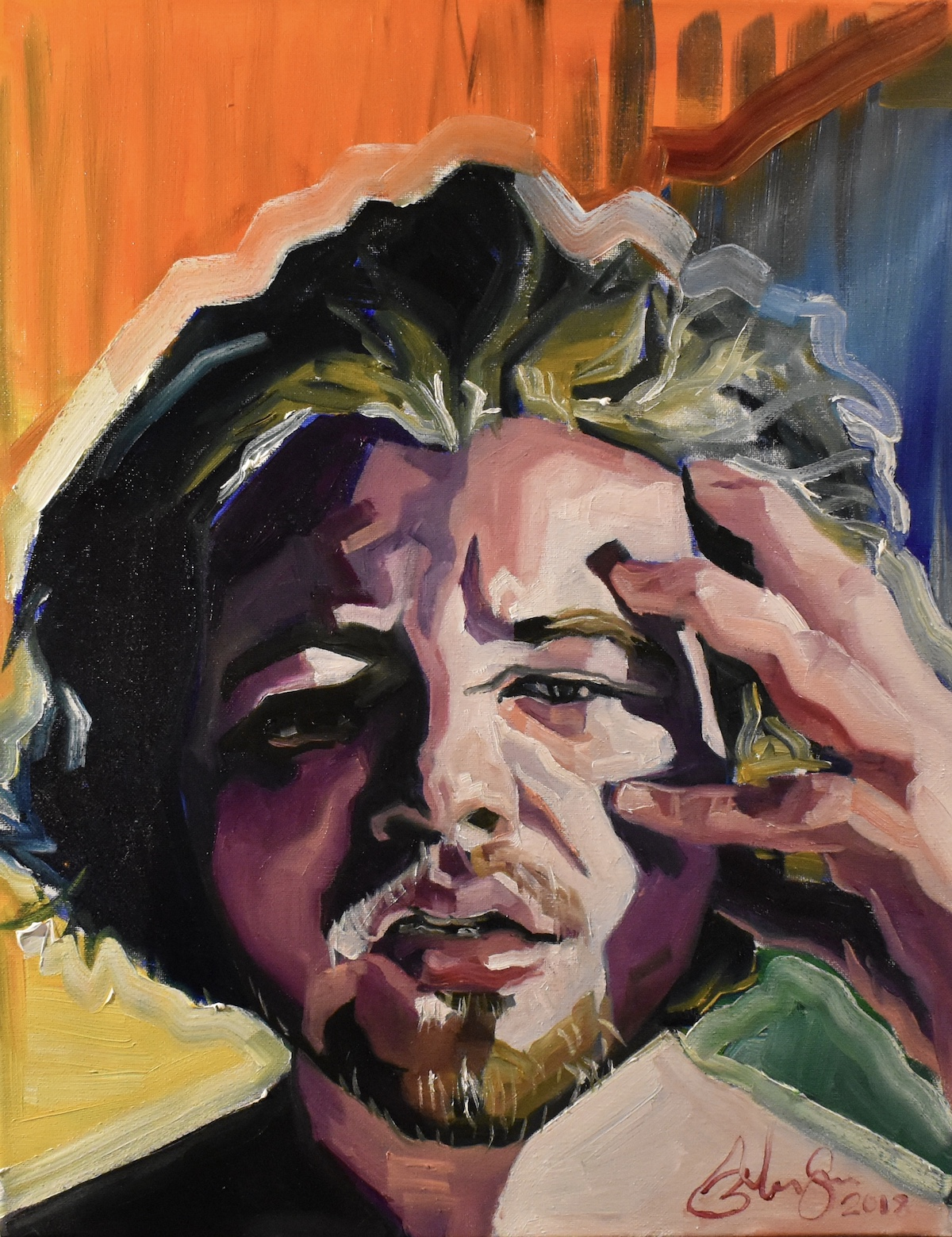 Title Self portrait. Constant Headache Medium Oil on canvas Size 11in by 14in