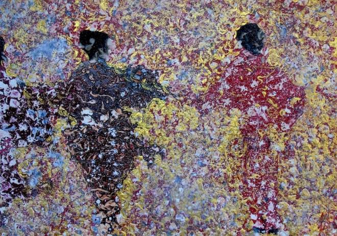Title Charm of Geiko Medium Mixed own technique on canvas Size 140 x 100 cm