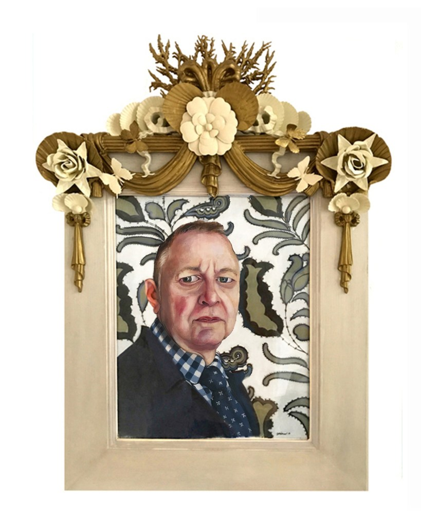 "Title Self Portrait Medium Acrylic on Paper in Fine Art Custom Frame Size 24"" x 34"""