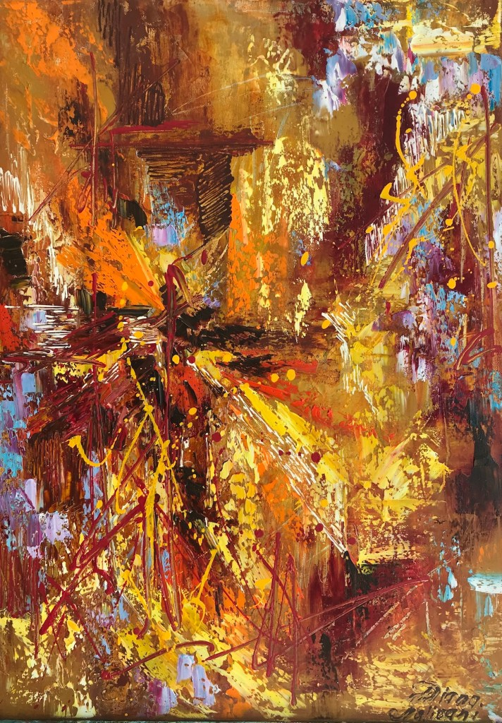 """Title Show Must Go On (Art Project """"Seeing Music"""") Medium oil on canvas Size 27.55"""" by 19.70"""""""