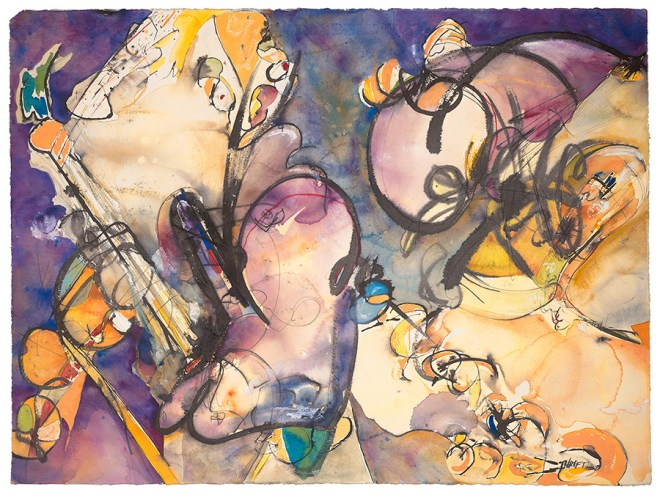Title Pogo Ghosts Medium Watercolor Size 22x30