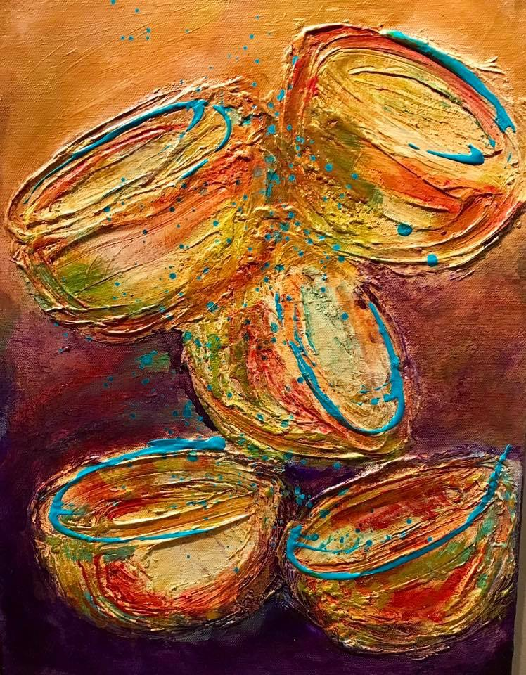 Chihuly Inspired Medium Layered Mixed Media, Acrylic Size 12x16