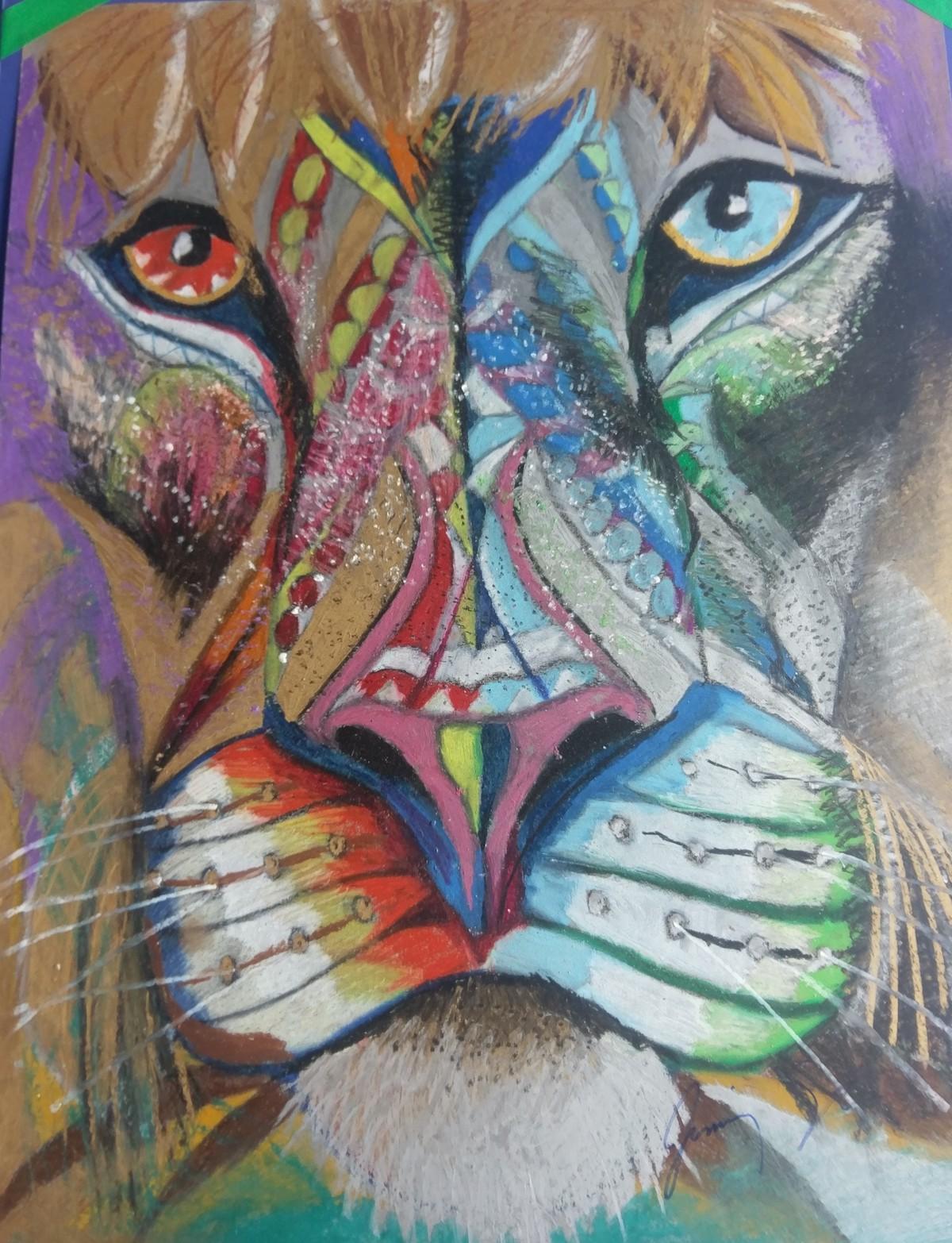"""Title Asian Lion Medium Oil pastel Size 19"""" X 25"""""""