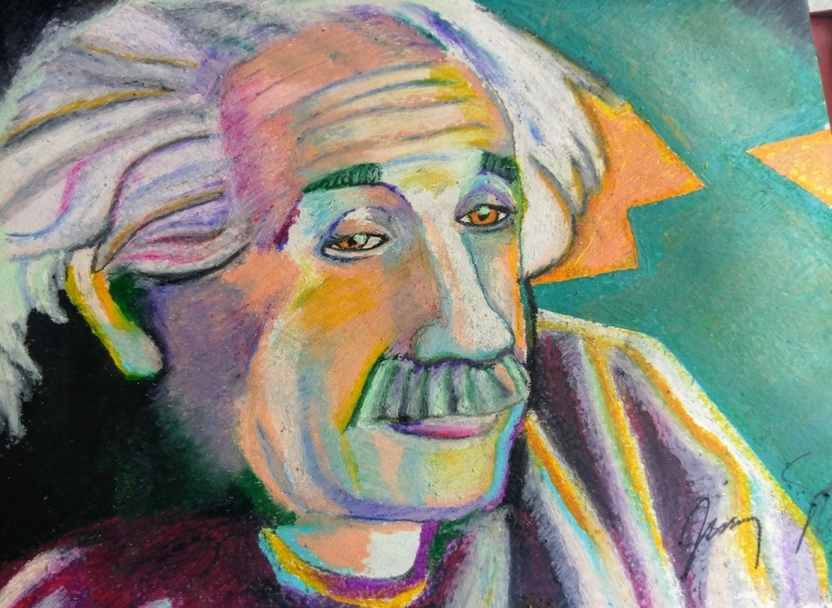 "Title Einstein Medium Oil pastel Size 19"" X 25"""
