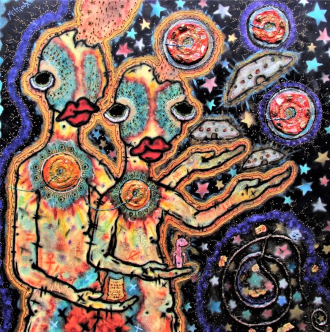 """The Release of Space Messengers Medium Mixed Media Size 20"""" X 20"""""""