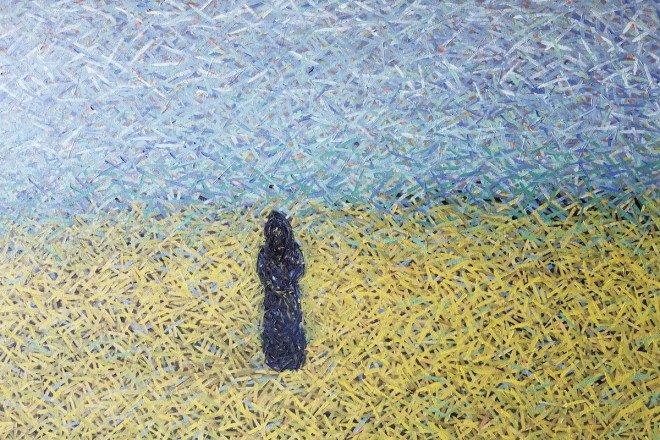 Black Monk Medium Oil on Canvas Size 30 x 48 x 1.5 in