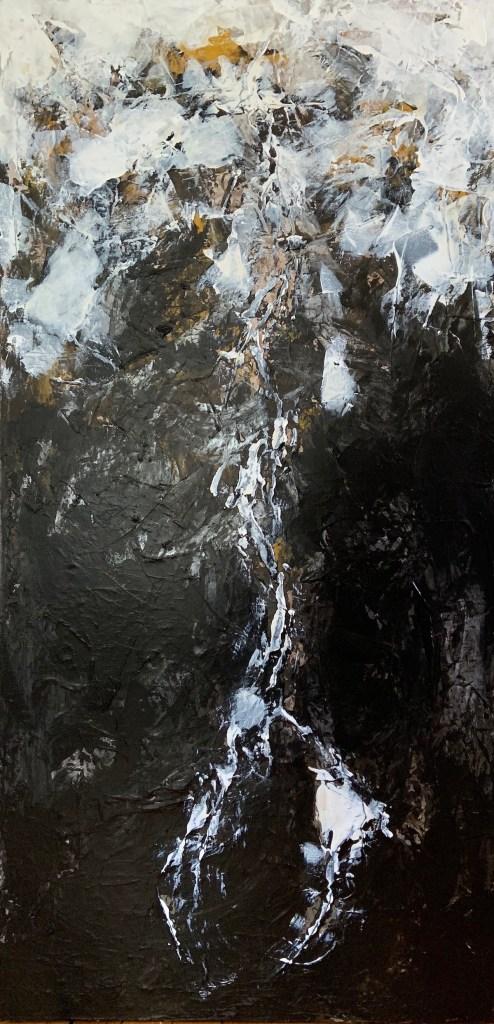 "Lunar Landscapes: Transcendental I Medium Acrylic on Canvas Size 48"" H x 24"" W"
