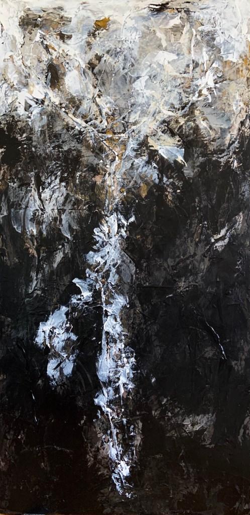 "Lunar Landscapes: Transcendental II Medium Acrylic on Canvas Size 48"" H x 24"" W"