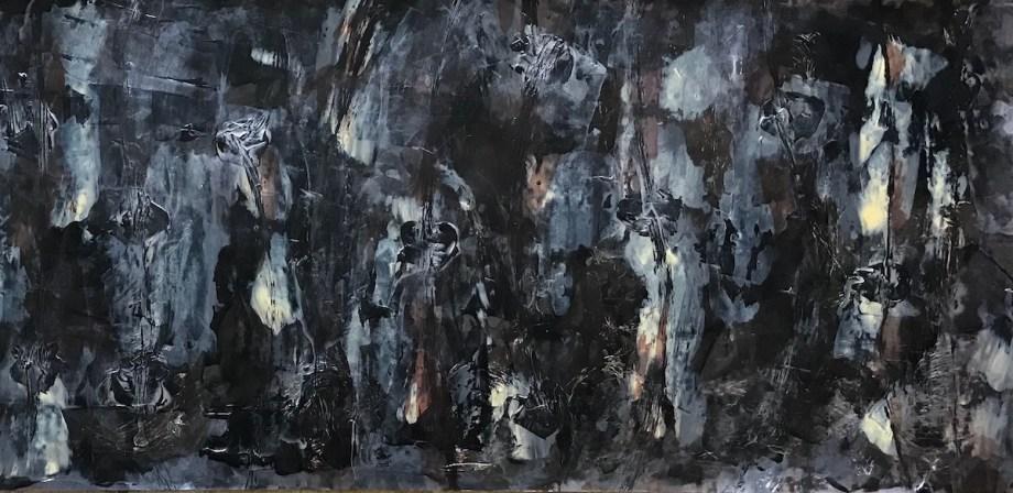 "Lunar Landscapes: Am I Here Alone? Medium Acrylic on Canvas Size 48""L x 18"" H"