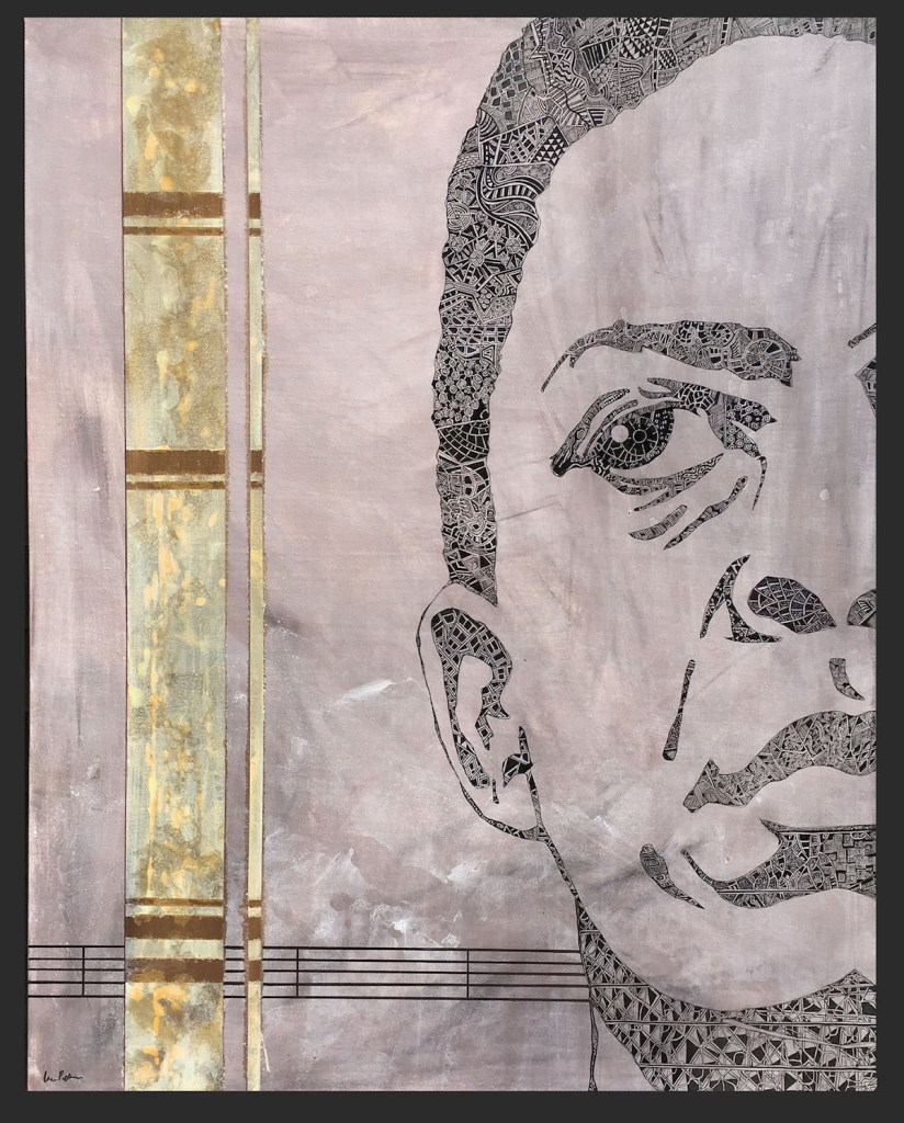 John Coltrane Medium Brush, India ink, and acrylic on weathered canvas Size 4 ft X 5 ft