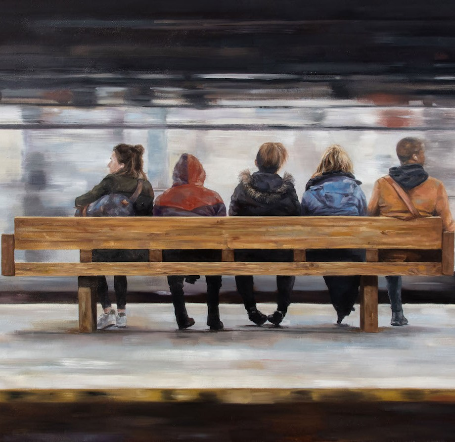 "Waiting Medium Oil on Canvas Size 41""x55"""
