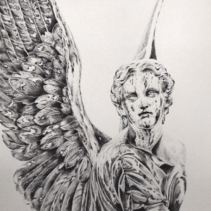 "AZRIL Medium Micron Ink Pen on Arches Rough Watercolor Paper Size 16""x20"""