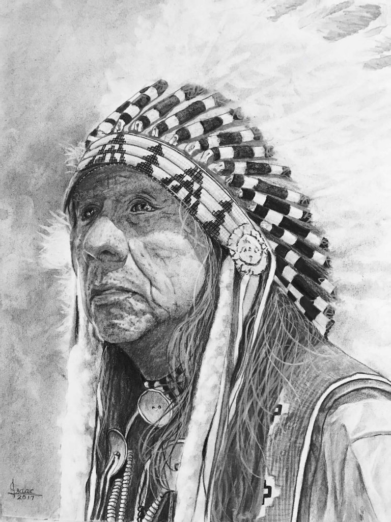 CHIEF BLACK ELK Medium GRAPHITE/CHARCOAL Size 17X21.5