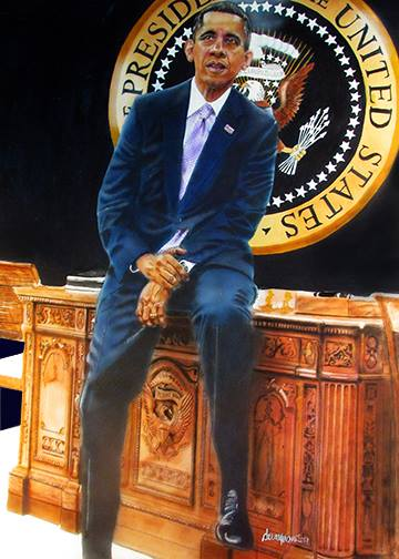 "POTUS 44 Medium Acrylic and colored pencil Size 40"" x 30"""