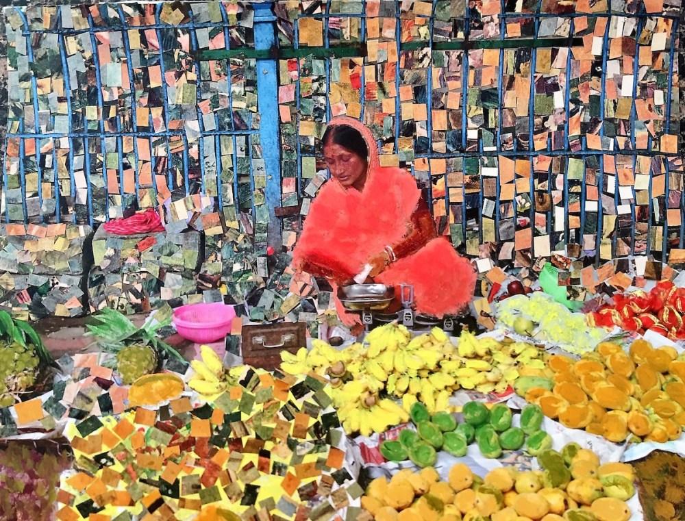 Kolkata Fruit Seller Medium Mixed Media Size 12 by 18