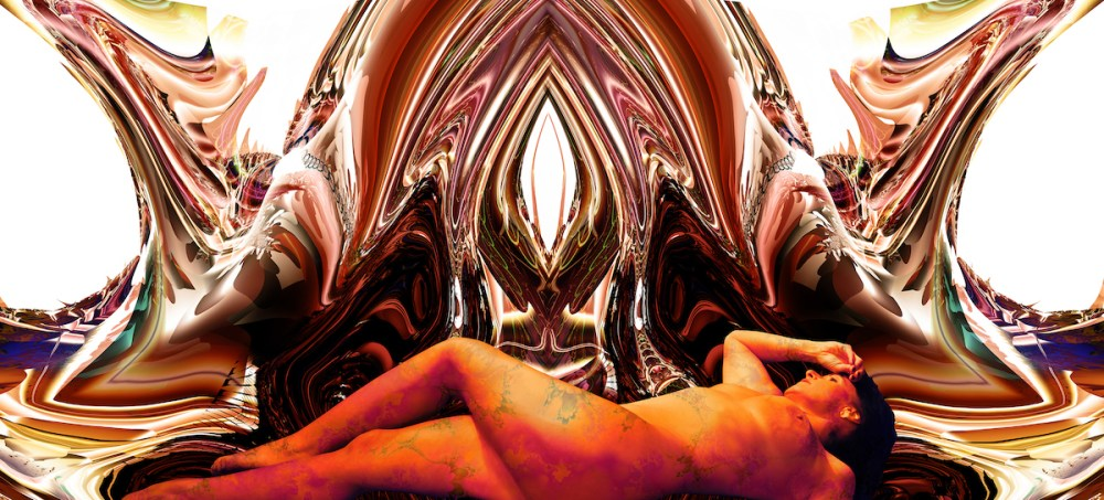 "Andromeda On Brown Medium digital on metallic paper on plexiglas Size 36w"" x 16h"""