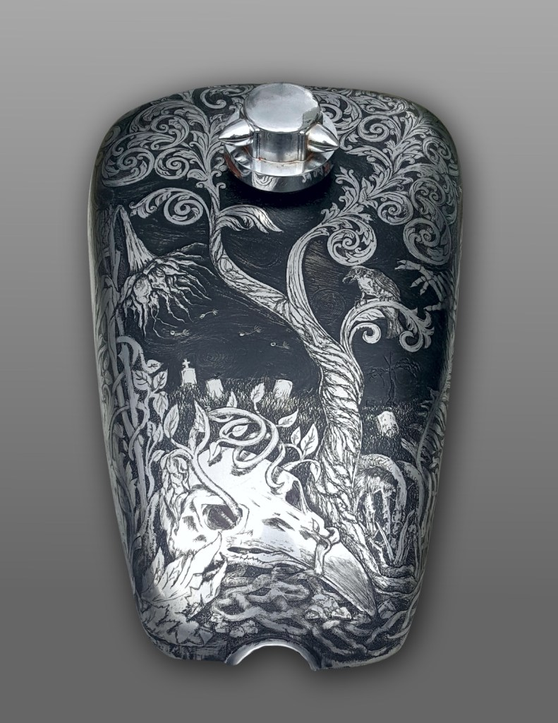 """Funerary"" - top Medium Engraved Harley Davidson Gas Tank Size 20x18x11"""