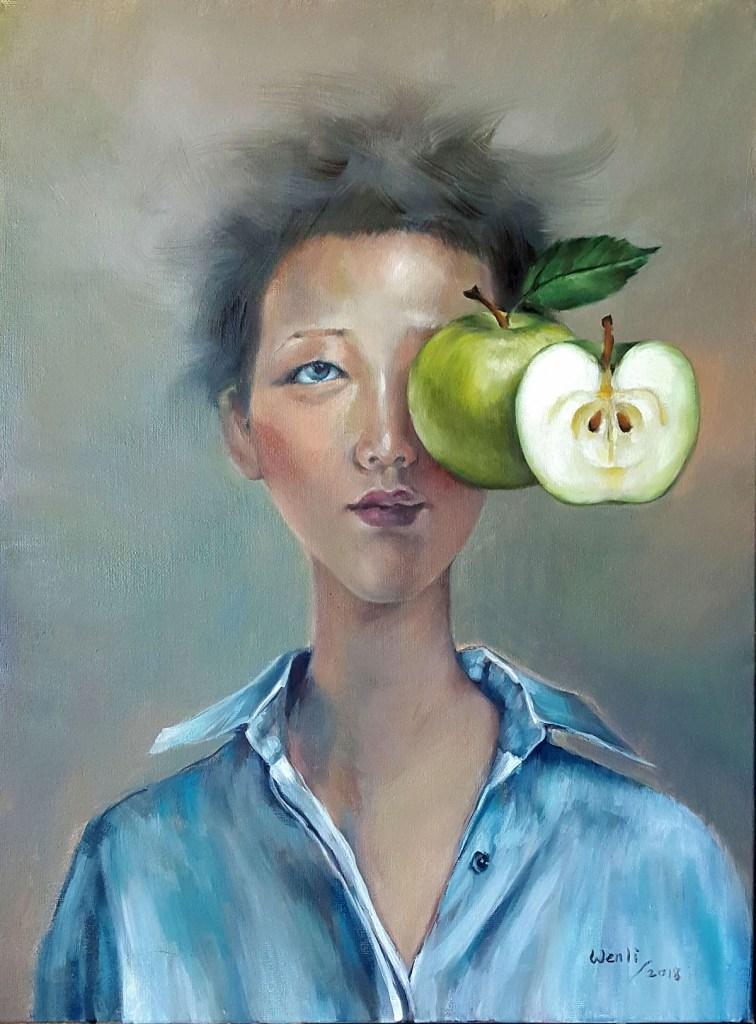 "Temptation, Green Medium oil on canvas Size 24""x18"""