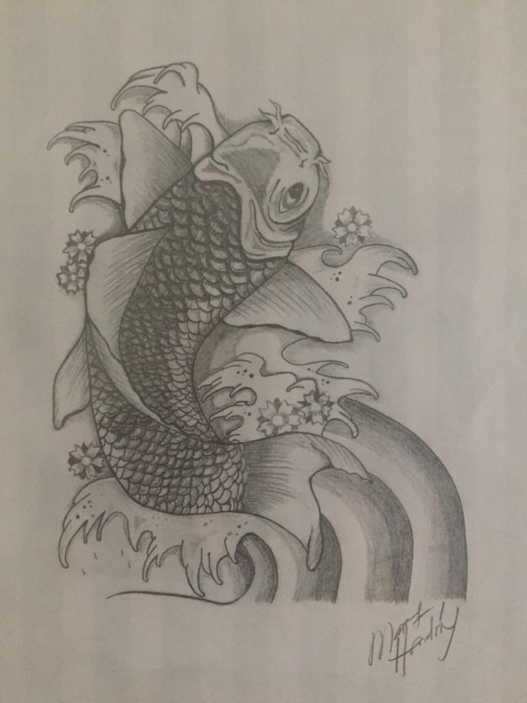 Koi #2 | Graphite pencil on Custom handmade paper | 16x20
