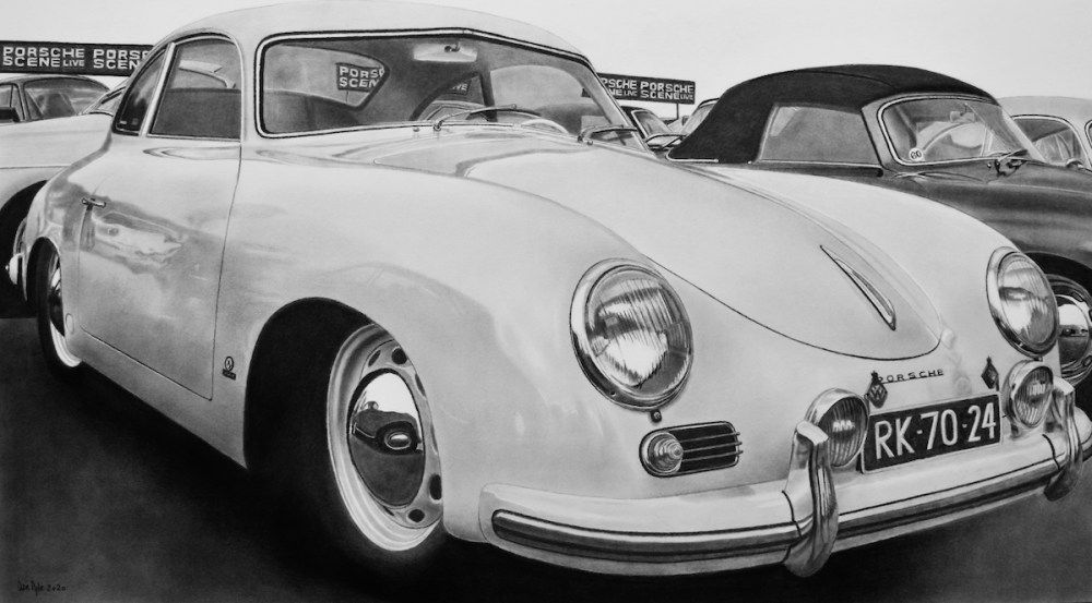"Porsche Scene | charcoal | 20 1/4"" x 36 1/2"""
