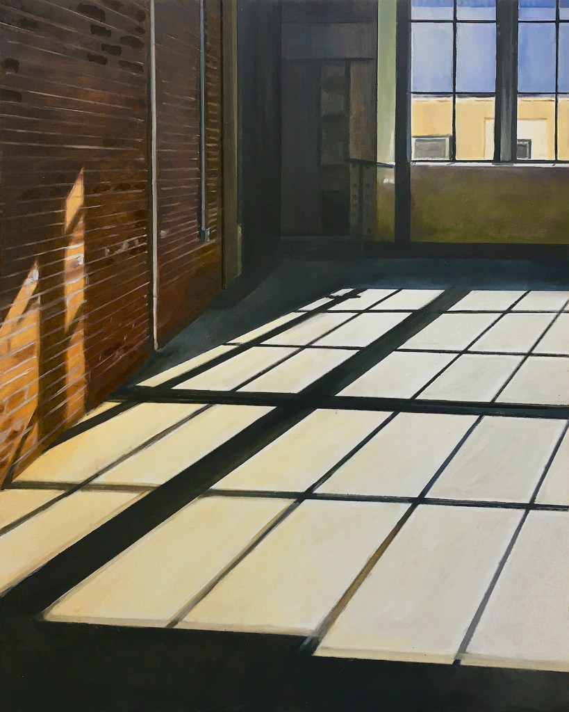Empty Office with a Brick Wall | Oil on Panel | 20 x 16 inches