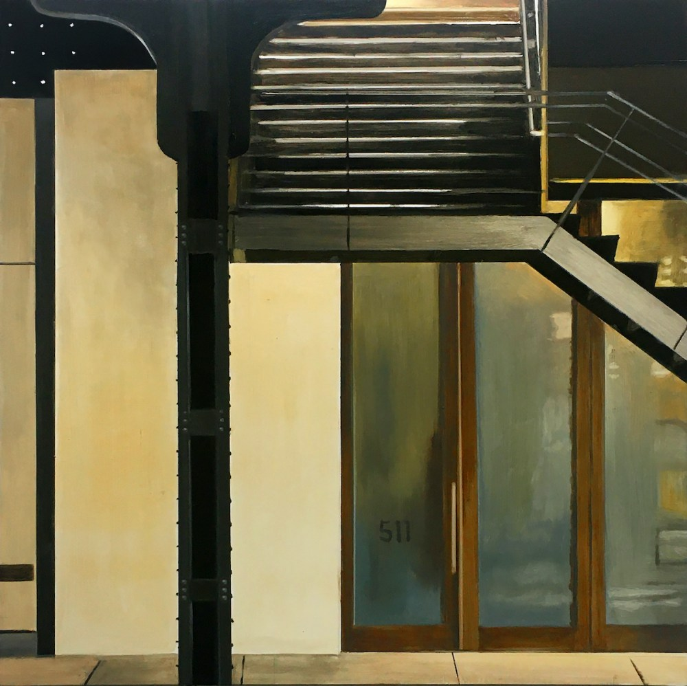 Highline Stairs at 23d Street | Oil on Panel | 18 x 18 inches