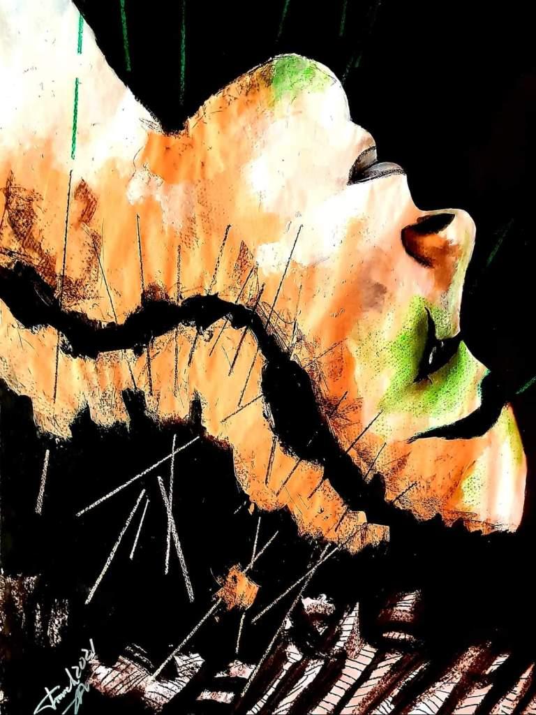 La moza Lùa | Mixed Media | 100cm x 100cm