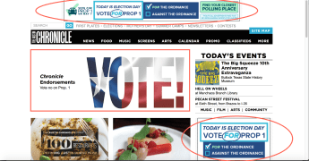 Uber Ads on Austin Chronicle Homepage--Chronicle Opposes Prop 1