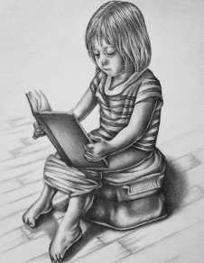 """Reading"" Pencil on Paper, SOLD"