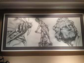 """Detail of drawing of Bernini's """"David"""" on client's wall"""