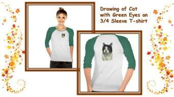 This shirt featuring a drawing of a cat with green eyes is the perfect gift of cat art for cat lovers. http://www.zazzle.com/drawing_of_green_eyes_and_red_nose_cat_on_shirt-235419377938191744