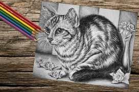 catwithdaffodils_8x10_coloring_onwood