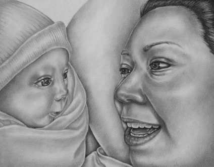 """""""Mother and Baby"""" 11""""x14"""", Pencil on Paper, SOLD"""