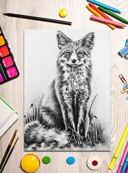 http://artistrybylisamarie.com/product/printable-coloring-page-fox-on-grass/