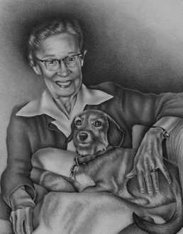 """Woman with Dog, 8""""x10"""", Graphite Pencil on Paper, SOLD"""