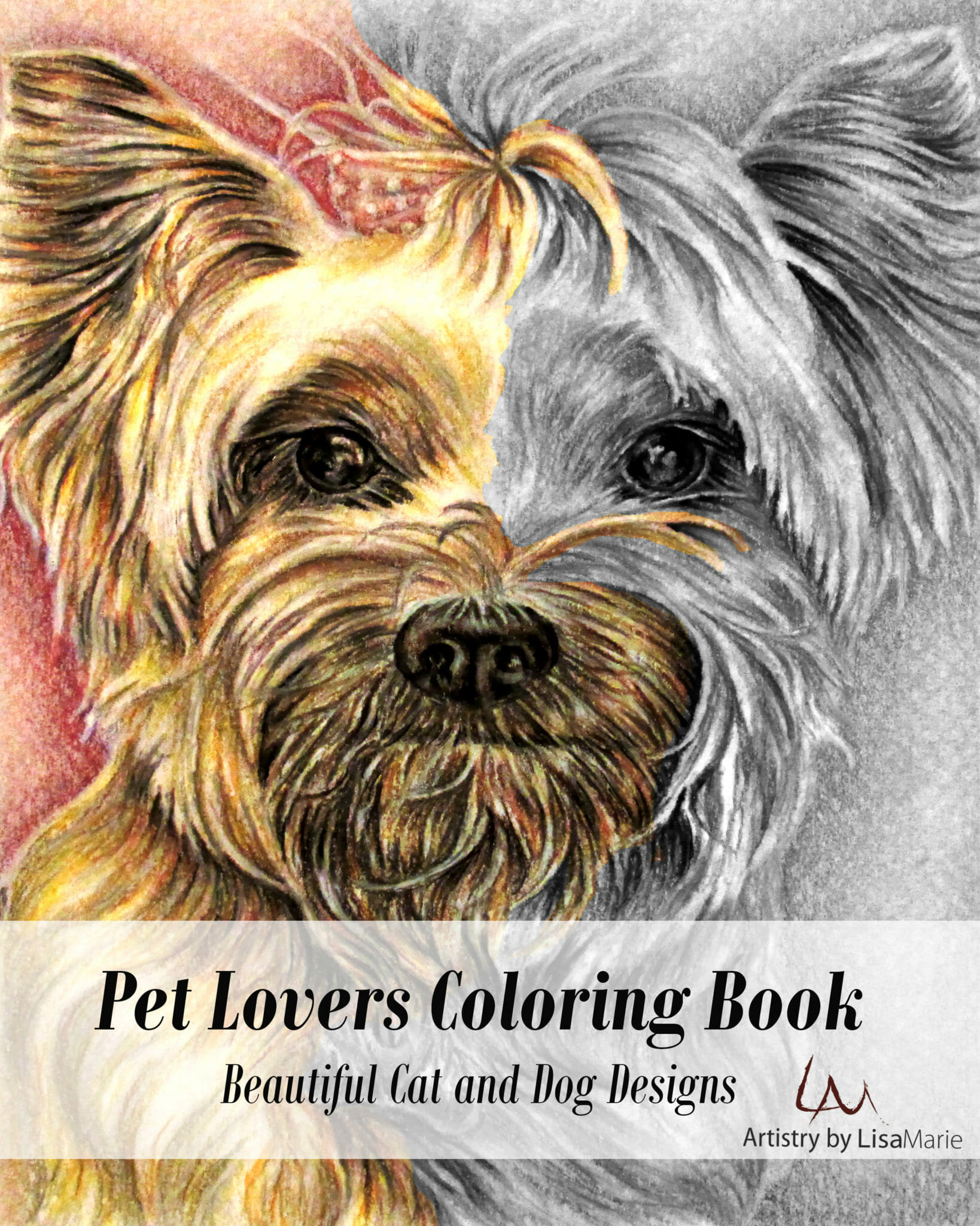 Pet Lovers Coloring Book All Hand Drawn Grayscale Art Tabbycatsitting 8x10 Oncrafttable Terrier