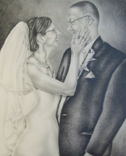 "Jenn and Jason, 8"" x 10"", Graphite Pencil on Paper, SOLD"