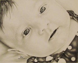"""Sweet Baby Blues"" 8"" x 10"" Graphite Pencil on Watercolor Paper, SOLD"