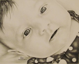 """""""Sweet Baby Blues"""" 8"""" x 10"""" Graphite Pencil on Watercolor Paper, SOLD"""
