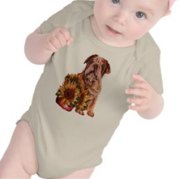 Bulldog and Sunflowers on Baby suit http://www.zazzle.com/drawing_of_bulldog_with_sunflowers_baby_bodysuit-235132748780664611