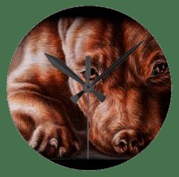 http://www.zazzle.com/brown_pitbull_face_drawing_of_pet_portrait_dog_clock-256832910627070210