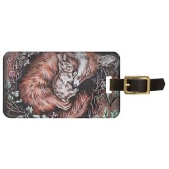http://www.zazzle.com/fox_and_bunny_sleeping_drawing_of_animal_art_luggage_tag-256316005254118502
