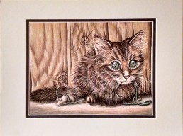 """""""Kitten with Yarn and Mouse Toy"""" 8""""x10"""", Colored Pencil on Paper, $80"""