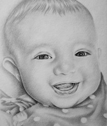 """""""Smiling Baby"""", Graphite Pencil on Paper, 8""""x10"""", SOLD"""