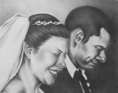 """Smiling bride and Groom"" Graphite Pencil, 11""x14"", SOLD"