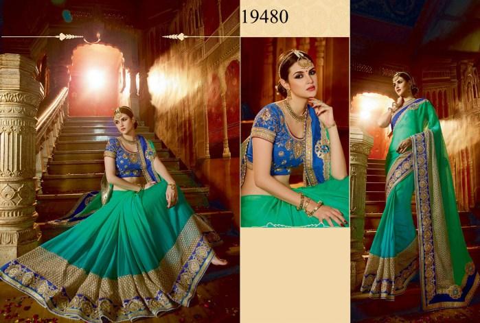 Green Colored Chiffon Rukmini v4 Designer Saree 19480