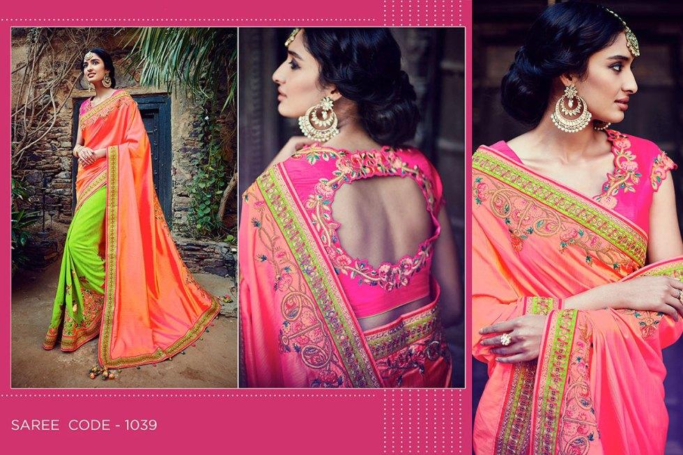 Kimora Sunehri Heavy Embroidery Sarees KS1039
