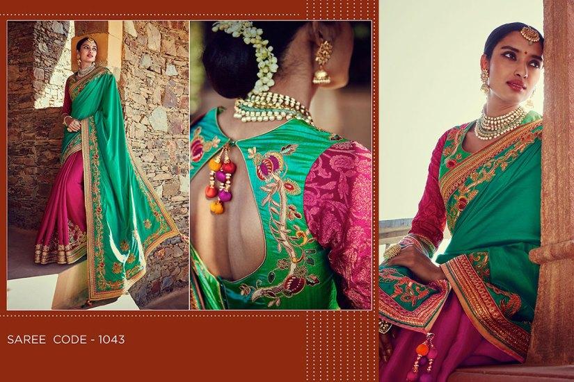 Kimora Sunehri Heavy Embroidery Sarees KS1043