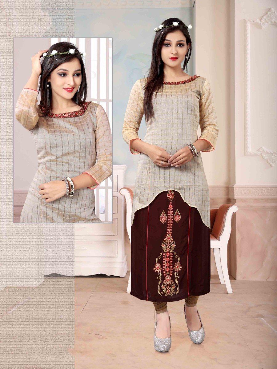 Chanderi Chex & Rayon Kurti Nexa CB060 | Readymade Wear