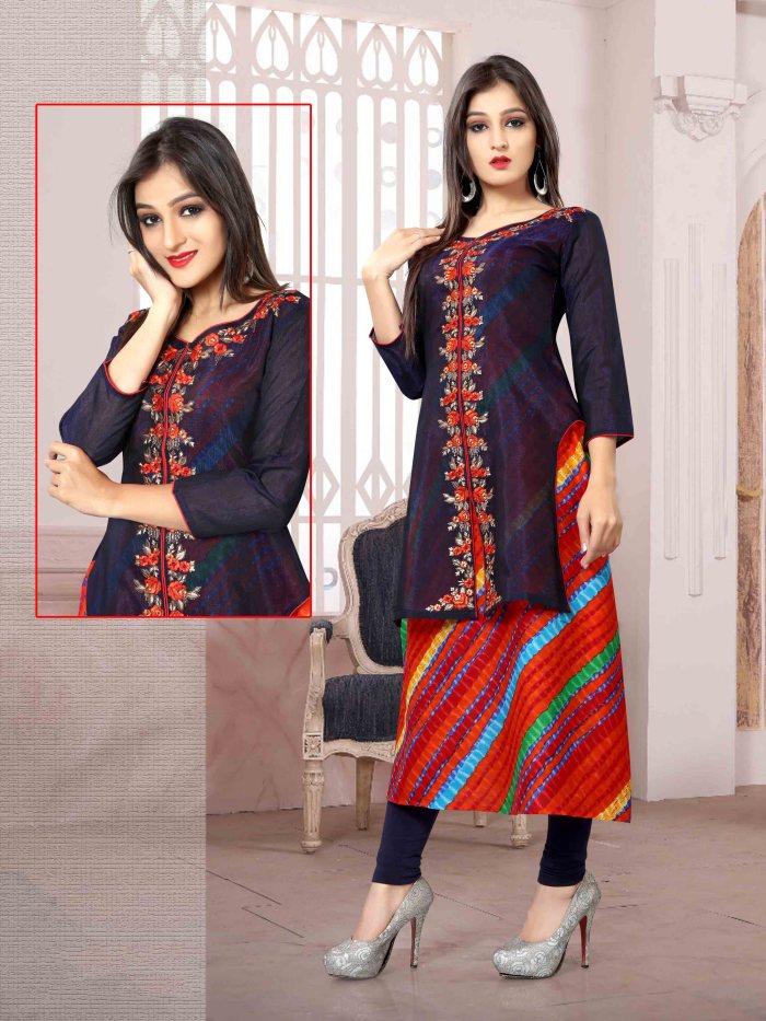 Chanderi Chex & Rayon Kurti Nexa CB062 | Readymade Wear